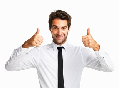 Happy executive giving you two thumbs up on white background